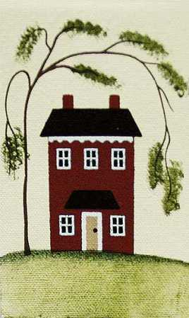 Primitive Saltbox House Canvas Home Decor