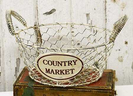 Primitive Country Market Wire Basket 9 Dia X 6 H Decorative