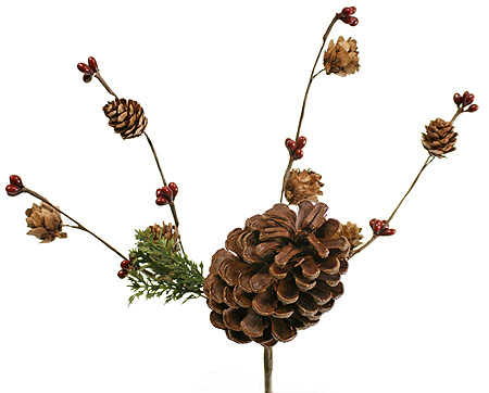 Pine cone with pip berries cedar spray pick christmas and