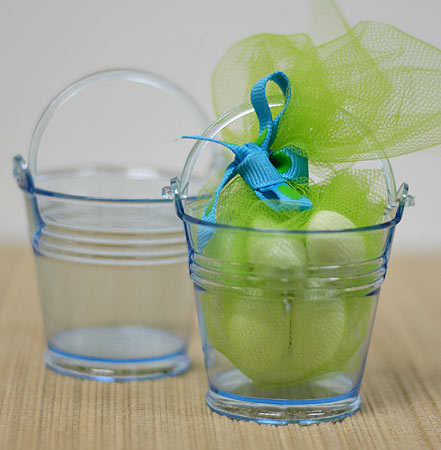Small Blue Plastic Favor Pails Luau And Beach Theme