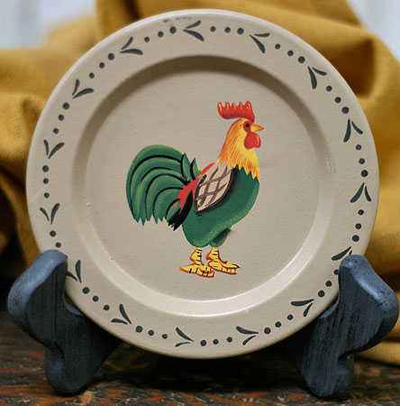 Click Here For A Larger View & Small Primitive Rooster Plate - Decorative Plates and Bowls ...