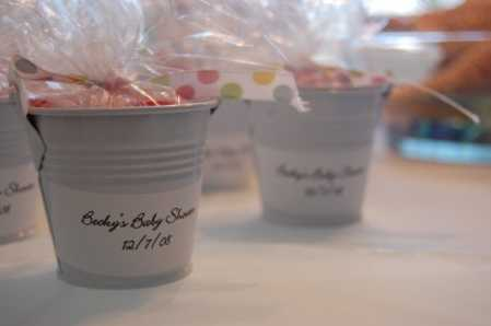 small white plastic favor pails - luau and beach theme - party