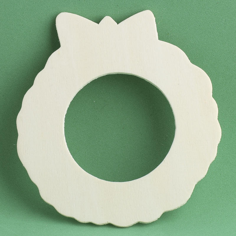 Unfinished wooden wreath cutout winter holiday cutouts for Wooden christmas cutouts