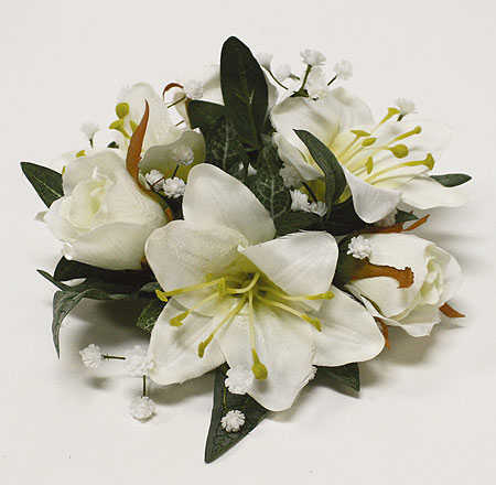 Artificial Lily And Gardenia Candle Ring Candles And