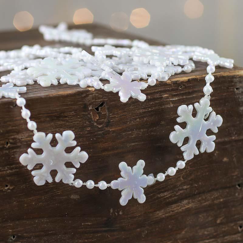 Miniature white snowflake and bead garland christmas