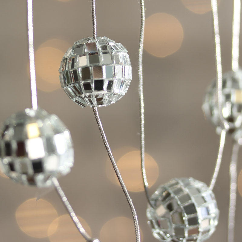 Disco Ball Decoration Impressive Silver Mirrored Disco Ball Garland  Christmas Garlands Design Inspiration