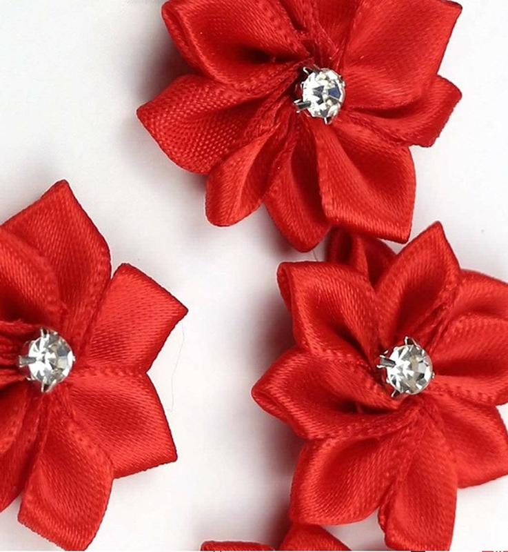 Miniature Red Silk Poinsettia Ribbon Flowers Holiday Florals