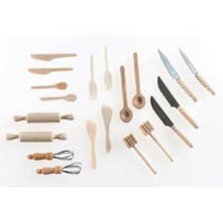 Dollhouse Miniature Wooden Kitchen Utensil Set - Kitchen