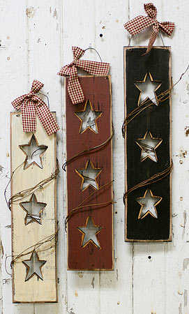 Primitive Triple Star Shutter With Twig Trim Signs