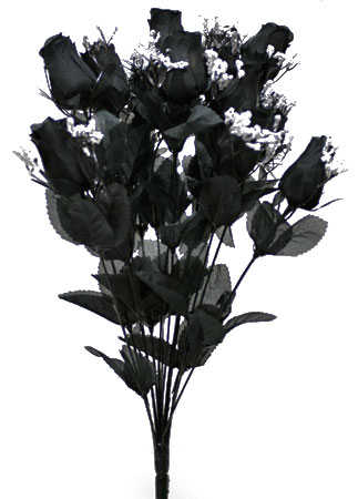 Black Artificial Rose Bud And Baby S Breath Bush Bushes