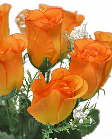 13 Quot Orange Silk Rose Bud Bush Bushes Bouquets Floral