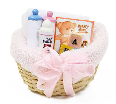 doll house miniature basket of mini baby items baby shower favors