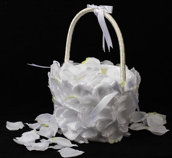 Wedding Baskets For Flower Petals : Rose petal filled white satin flower girl basket baskets