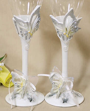 White with Silver Butterflies Toasting Glasses Toasting Flutes Glasses