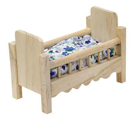 Dollhouse Miniature Wood Baby Crib - Nursery Miniatures ...