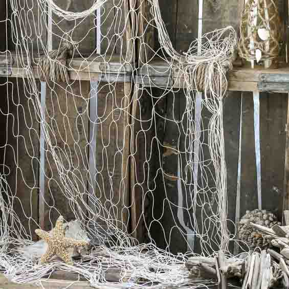 Decorative natural nautical fishing net coastal decor for Decorative fishing net