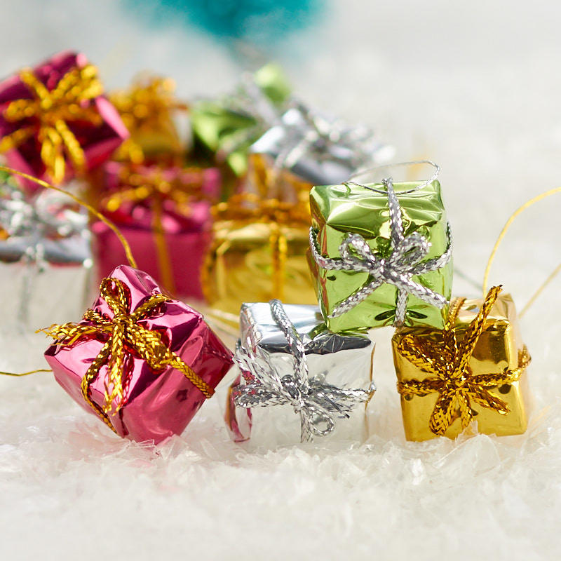 Christmas Gift Packages.Miniature Tiny Holiday Foil Gift Packages