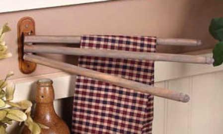 Vintage Look Old Wood Towel Drying Rack Kitchen Towels