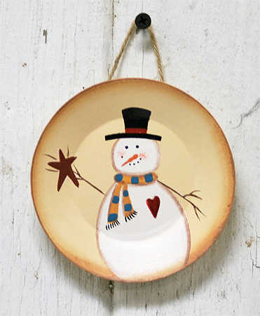Click Here For A Larger View & Primitive Snowman with Star Mini Wooden Plate - Decorative Plates ...