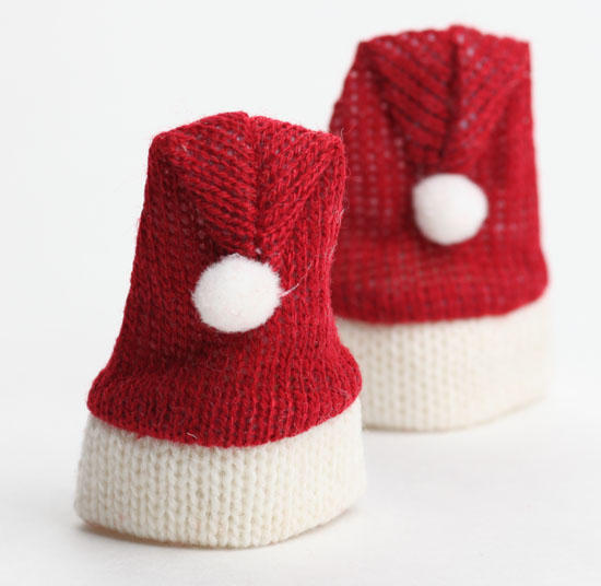 Miniature knitted santa hats santa claus doll making for Tiny top hats for crafts