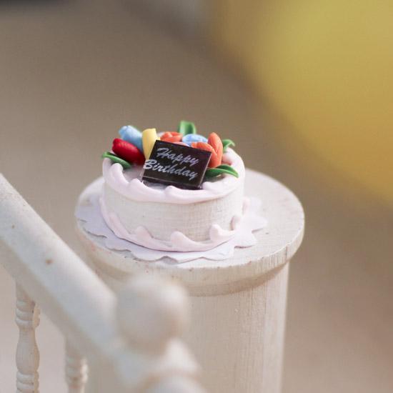 Dollhouse Miniature Happy Birthday Cake Kitchen Miniatures