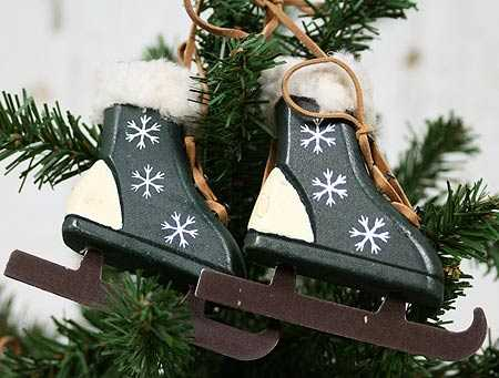 Primitive Wooden Ice Skates Ornament - Christmas Ornaments ...