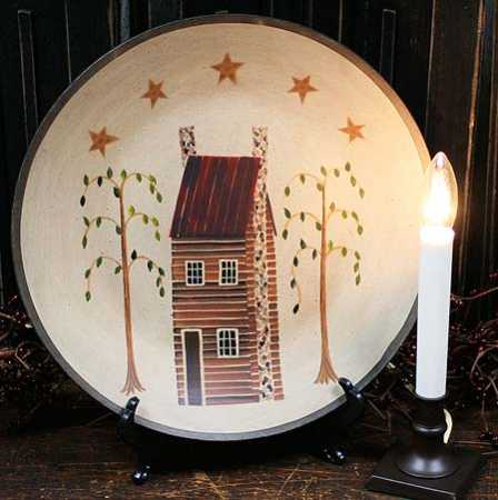 Primitive Saltbox House Plate From The Hearthside