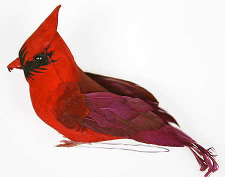 Artificial Bright Red Feather Cardinal Bird Artificial