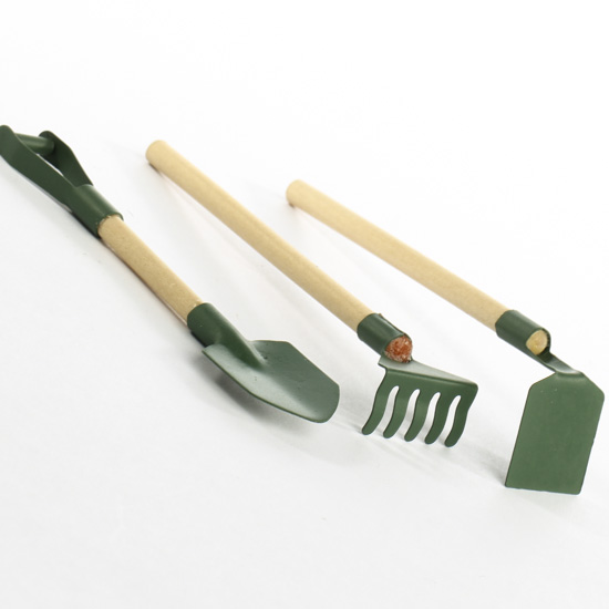 Miniature garden tools brooms shovels basic craft for Tools and equipment in planting