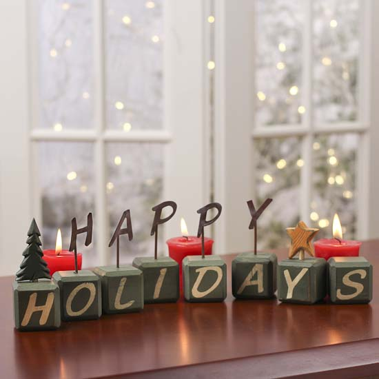 rustic wooden happy holidays blocks table decor christmas and