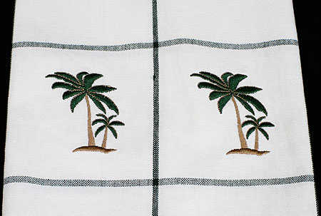 Embroidered Palm Tree Kitchen Dish Towel - Coastal Decor ...