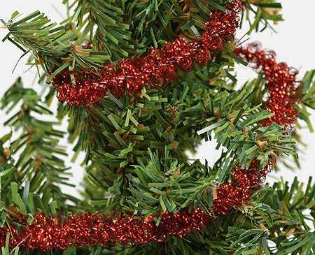 Miniature red twisty metallic tinsel garland christmas garlands