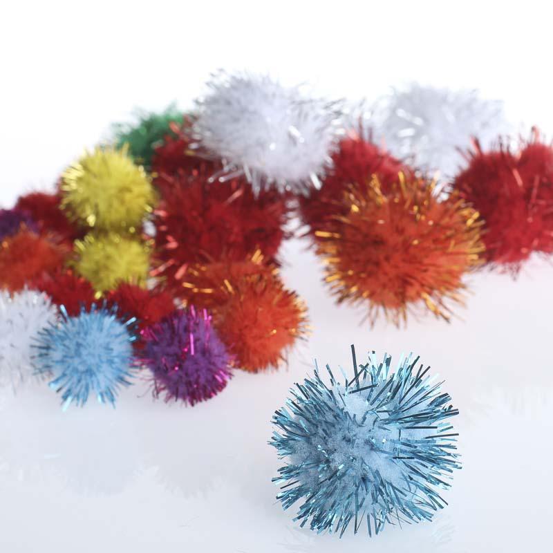 Assorted sparkle tinsel craft pom poms craft pom poms for Pom pom crafts
