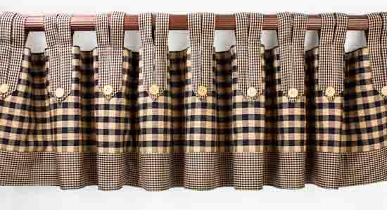 Navy Homespun Fabric Tab Valance 72 Quot X 14 Quot Primitive Decor