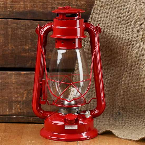 Red metal real working railroad lantern western theme