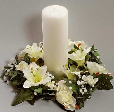 Artificial Silk Cream White Lily and Rose Candle Ring Wedding Centerpieces