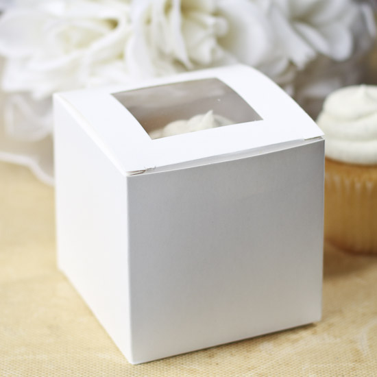 White Windowed Cupcake Boxes White Cupcake Boxes With