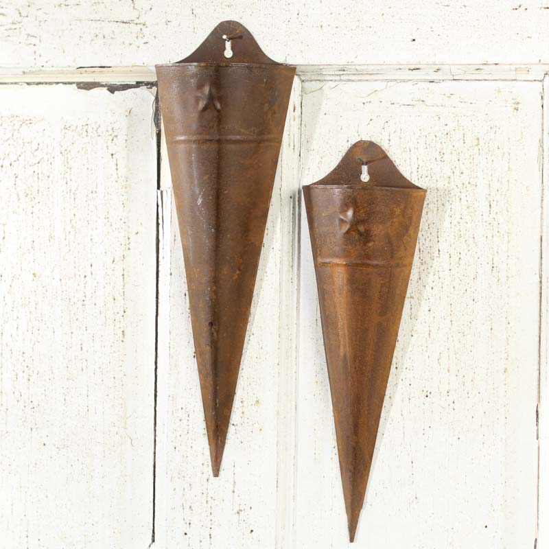 primitive rusty tin wall pockets