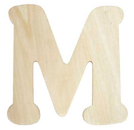 Unfinished wooden letter m word and letter cutouts for Wooden letters for crafts