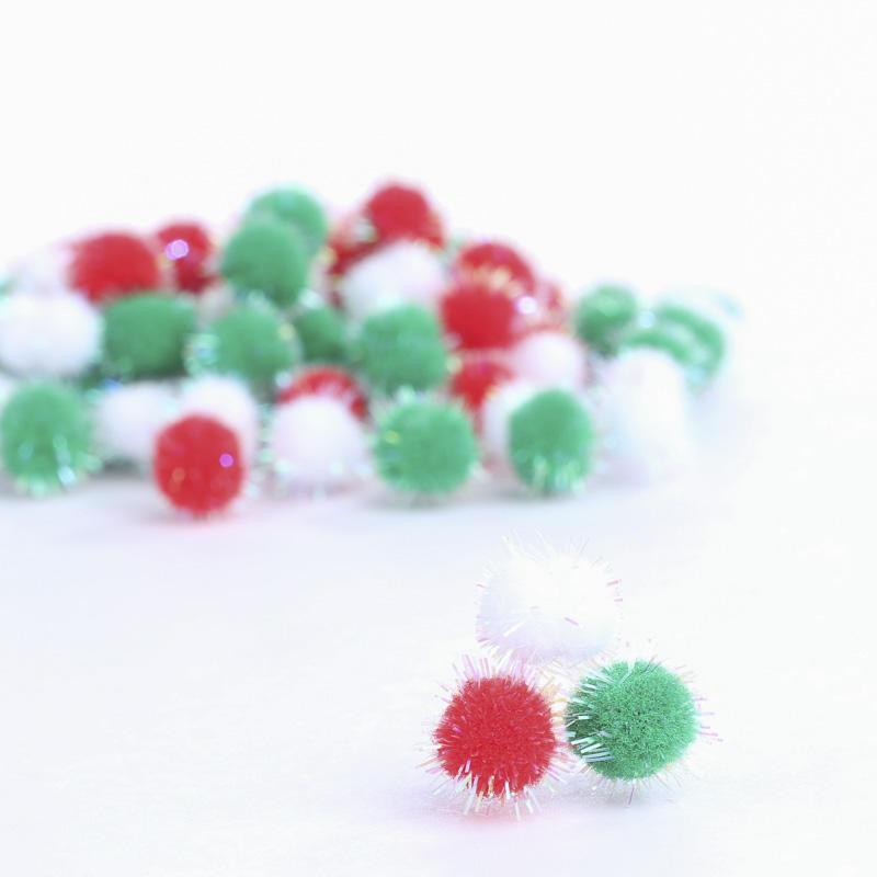 Iridescent tinsel christmas craft pom poms craft pom for Pom pom crafts
