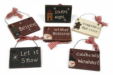 item kwx9661 set of 6 primitive wooden christmas holiday sign ornaments - Wooden Christmas Decorations Wholesale