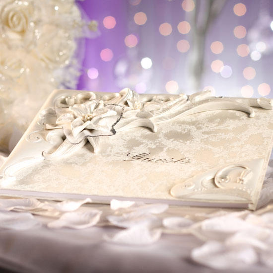 Details about White Flower Wedding/Party Guest Registry Book Sign In