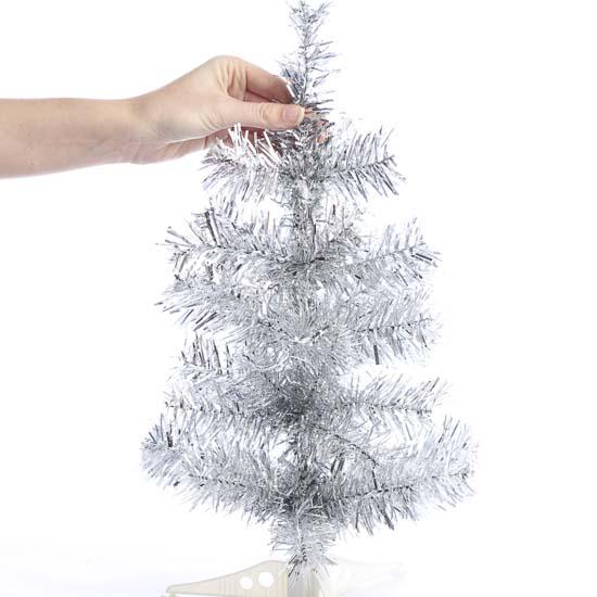 Retro Silver Tinsel Christmas Tree