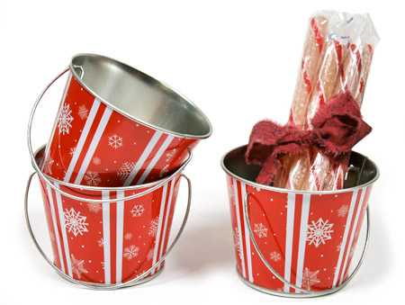 Set of 3 peppermint snowflake metal pails table decor for Christmas tin pails