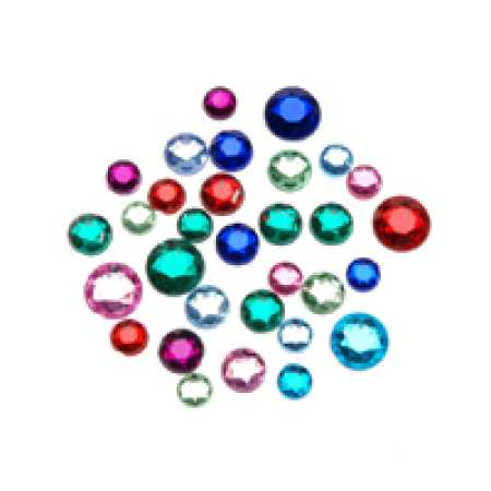 Assorted round flat back rhinestones confetti table for Rhinestone jewels for crafts