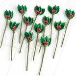 Miniature Lacquered Holly Leaf Picks