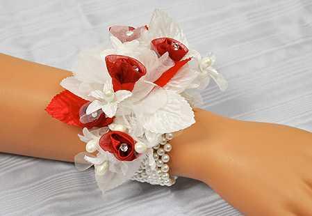 White Pearl Stretchable Wrist Corsage Bracelet Corsageboutonniere