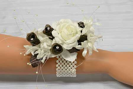 Ivory Pearl Stretchable Wrist Corsage Bracelet Corsageboutonniere