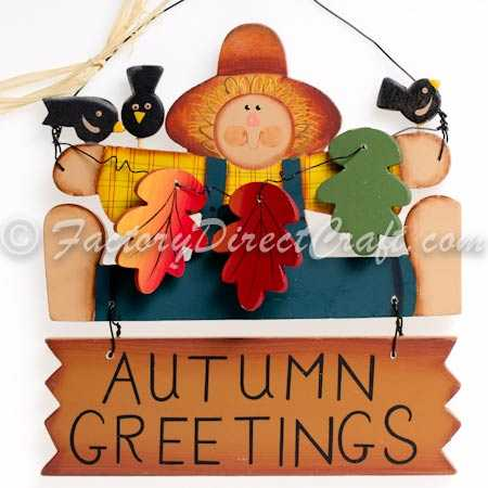 Fall autumn greetings scarecrow sign home decor for Scarecrow home decorations co ltd