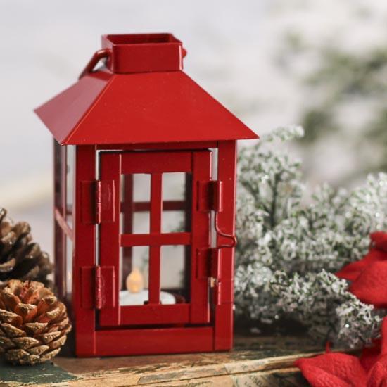 Red Metal Tea Light Lantern